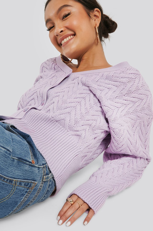 Cable Knitted Short Cardigan Purple