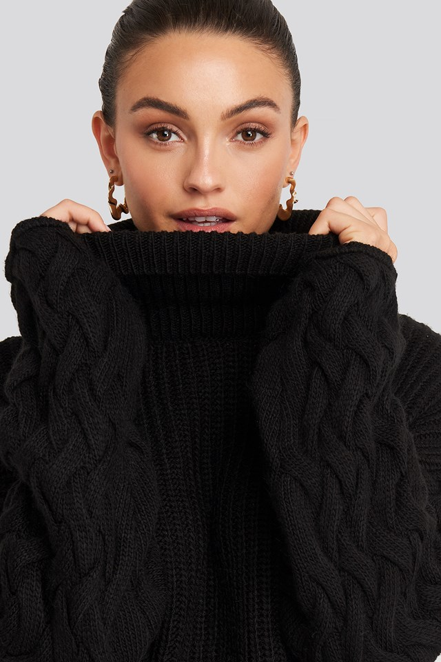 Cable Sleeve High Neck Sweater Black