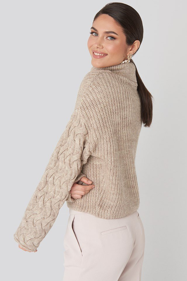 Cable Sleeve High Neck Sweater Beige