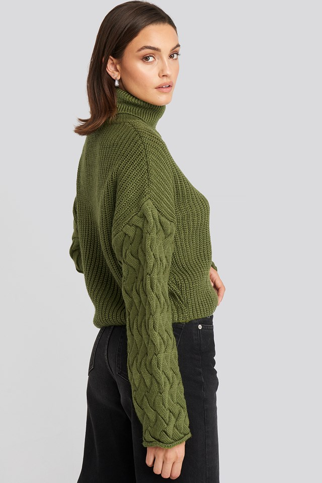 Cable Sleeve High Neck Sweater Olive Green