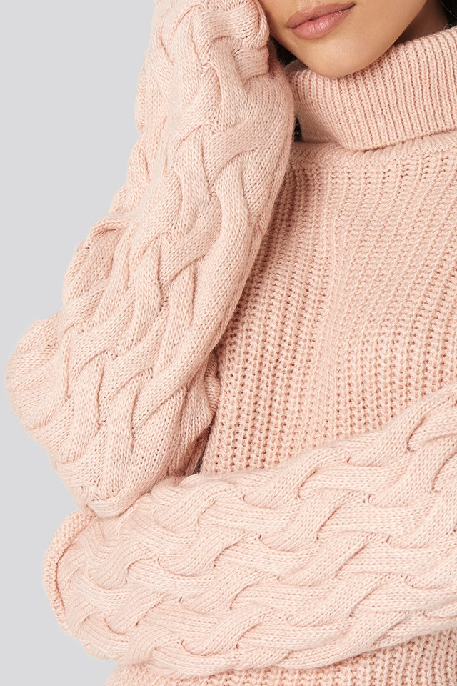 Cable Sleeve High Neck Sweater Dusty Pink