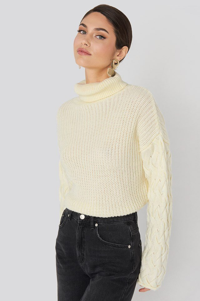 Cable Sleeve High Neck Sweater Offwhite
