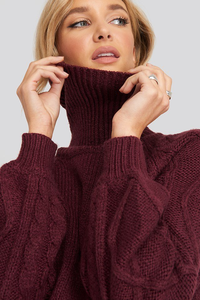 Cable Sleeve Knitted Sweater Burgundy
