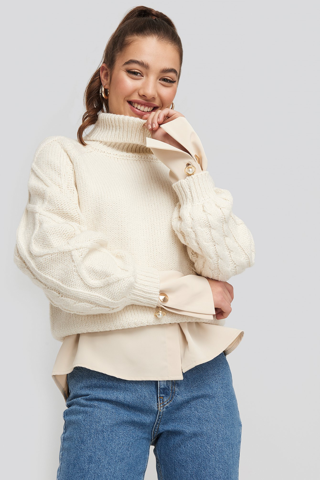 na-kd -  Cable Sleeve Knitted Sweater - White
