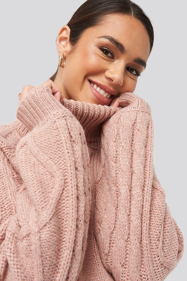 Cable Sleeve Knitted Sweater Dusty Light Pink