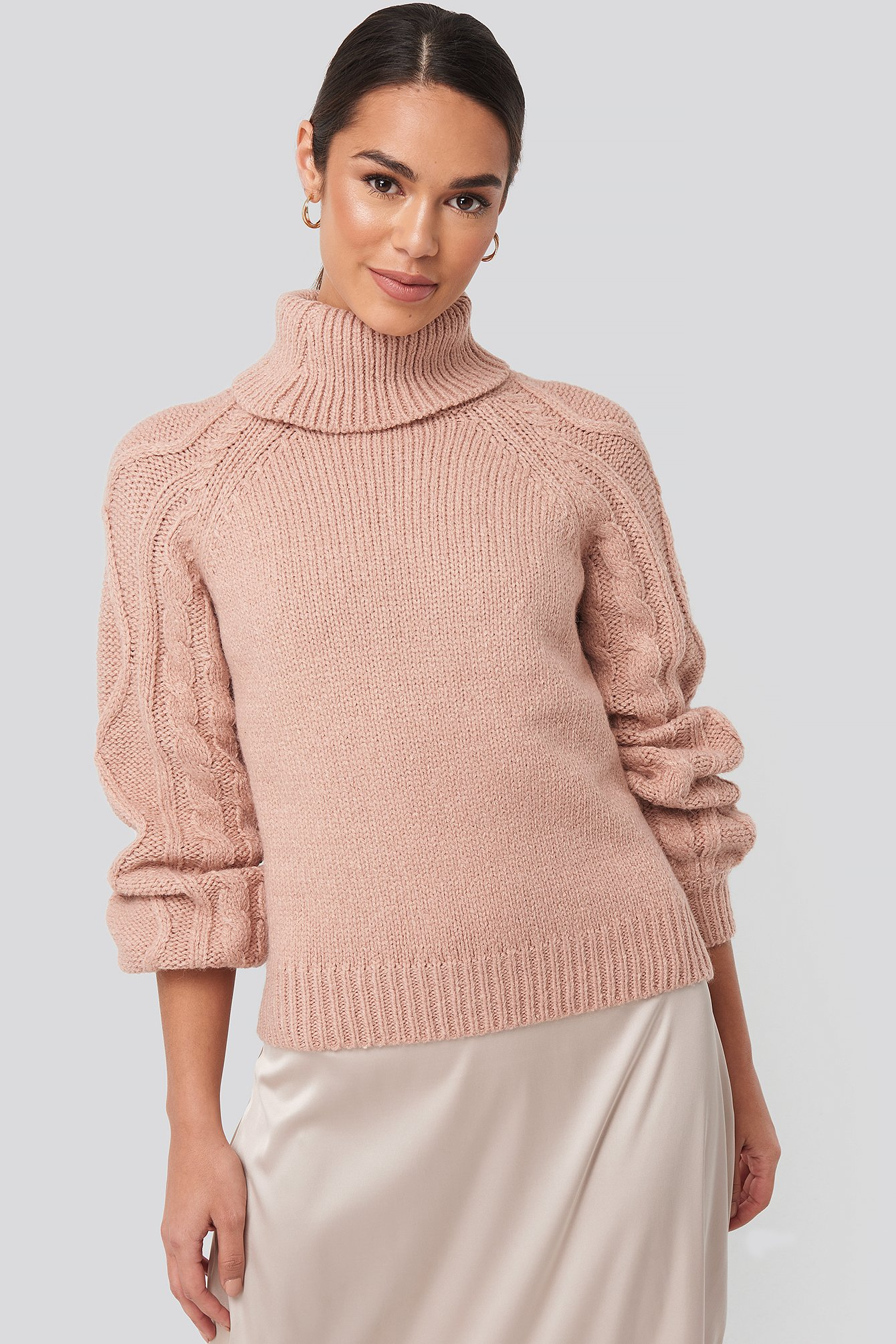 Dusty Light Pink Cable Sleeve Knitted Sweater