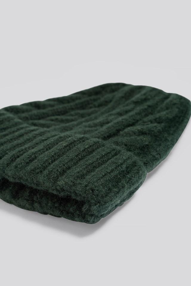 Cableknit Chunky Beanie Dark Green