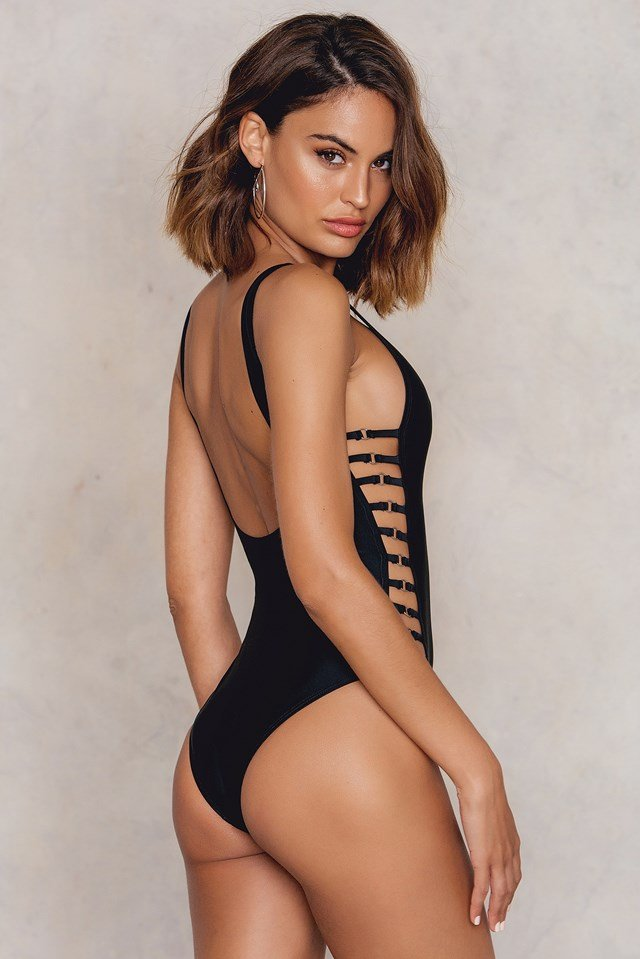 Caged Sides Swimsuit Black