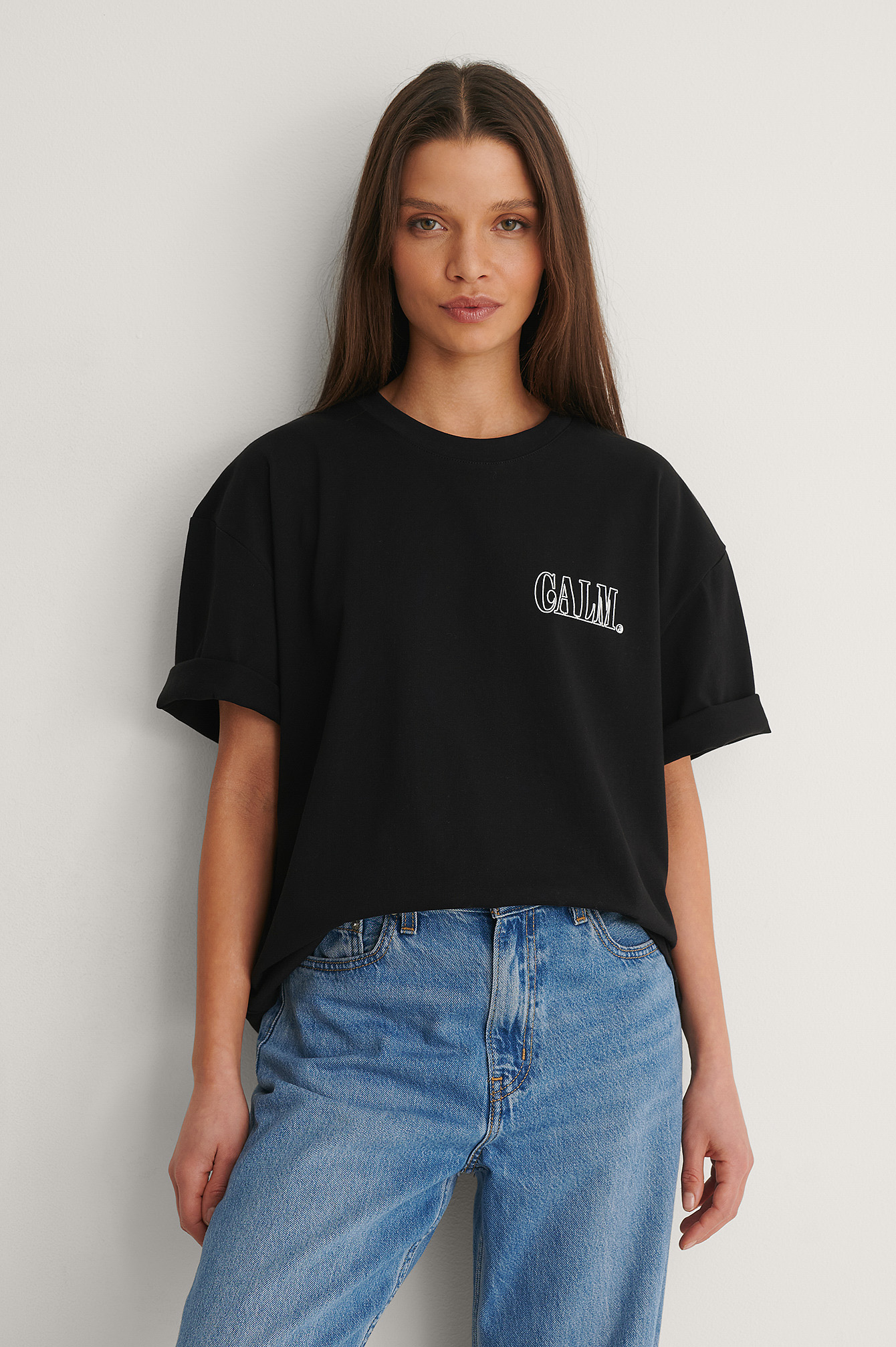 Black Organic Calm Printed T-Shirt