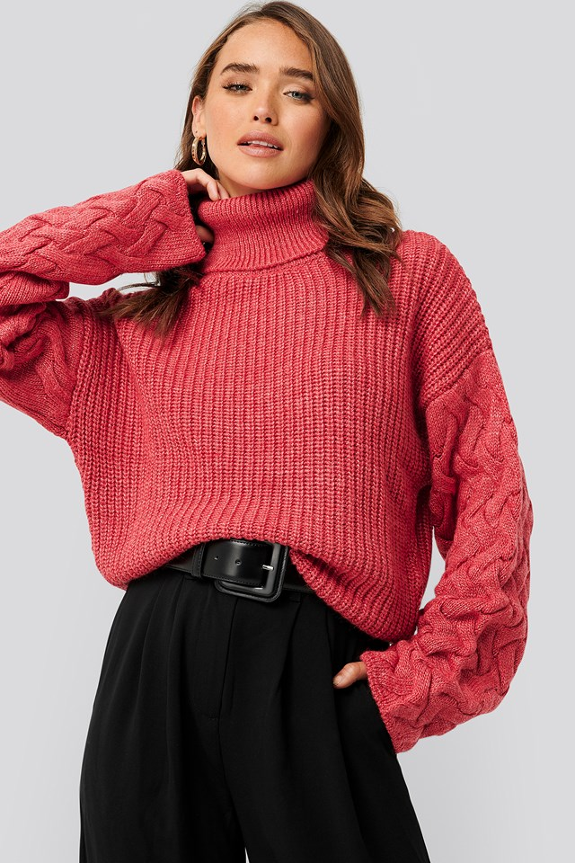 Cable Sleeve High Neck Sweater Raspberry