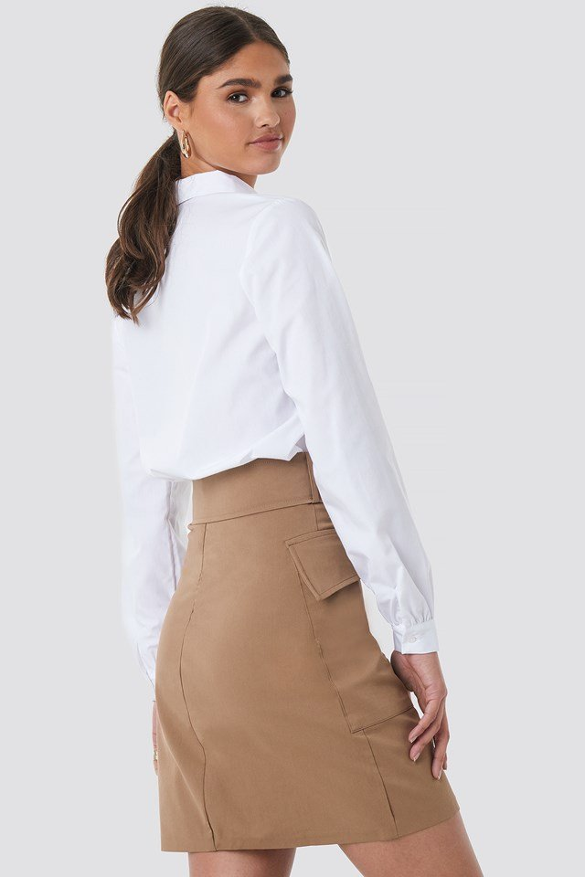 Cargo Belted Skirt Brown