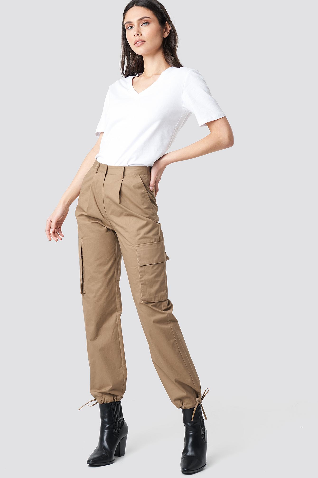 na-kd trend -  Cargo Wide Leg Pants - Beige