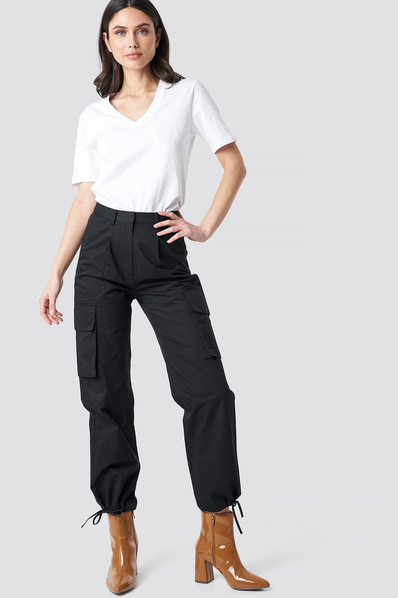 na-kd trend -  Cargo Wide Leg Pants - Black