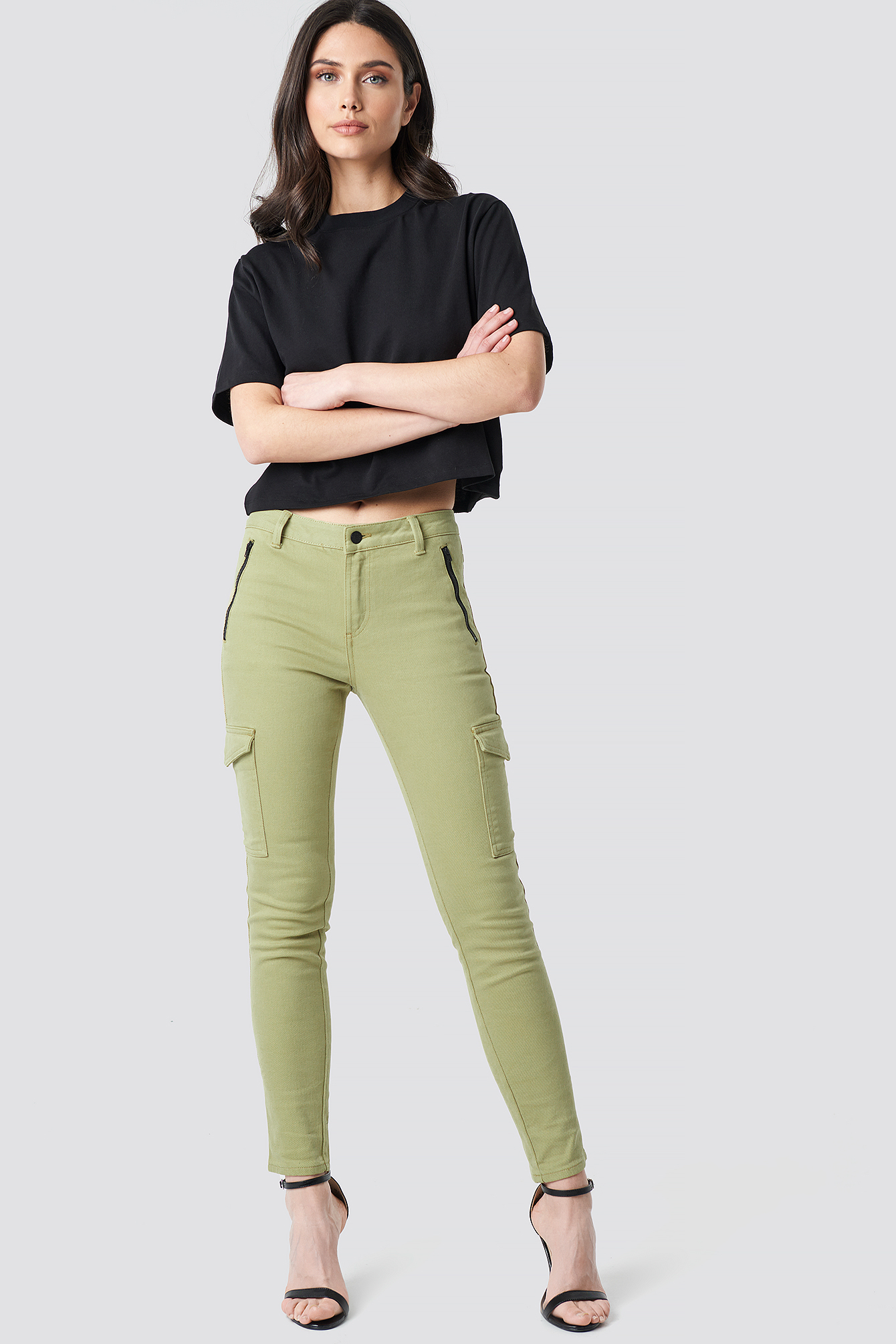 na-kd -  Cargo Zip Skinny Jeans - Green