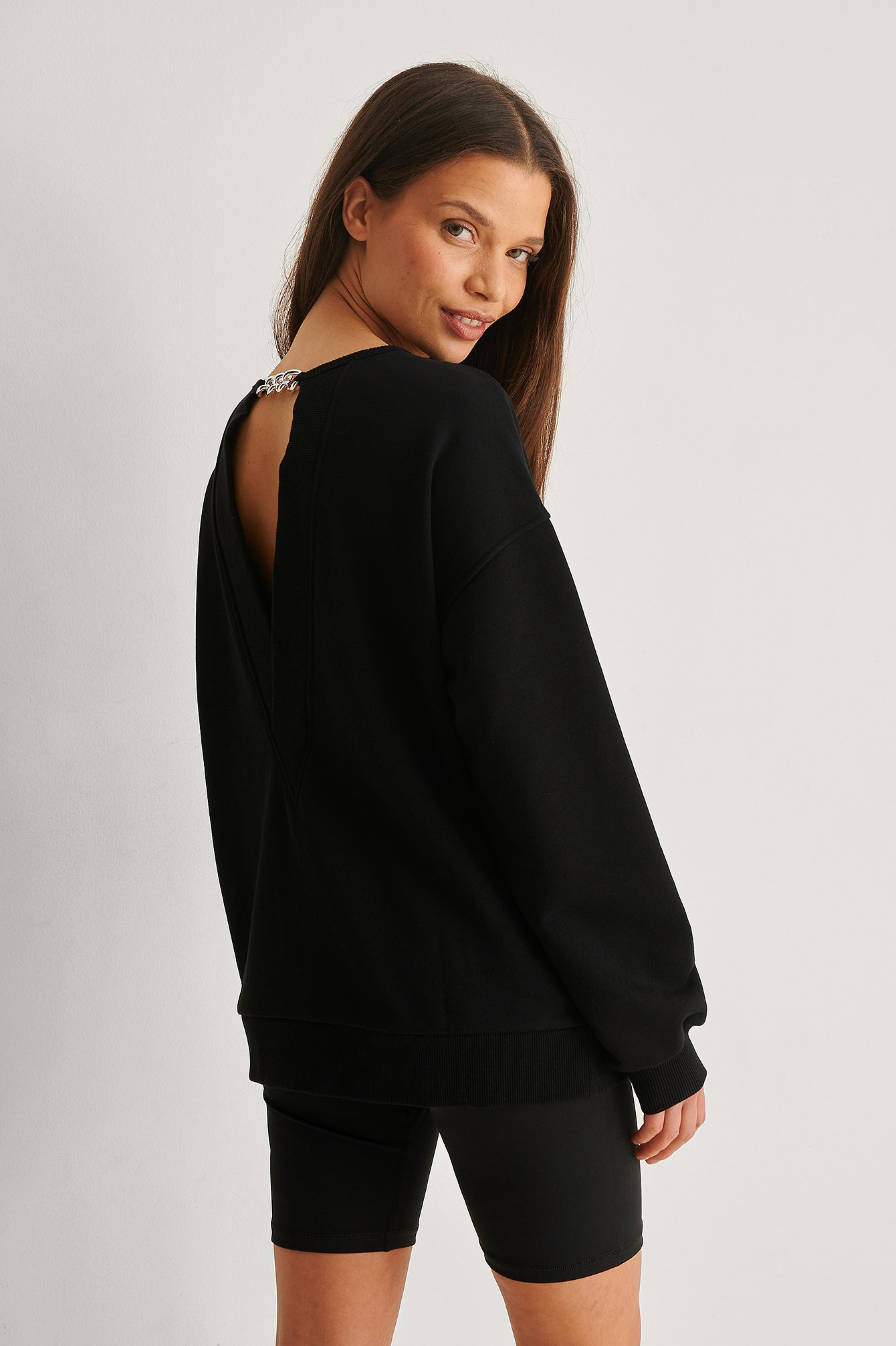 Black Organic Chain Detail Sweatshirt