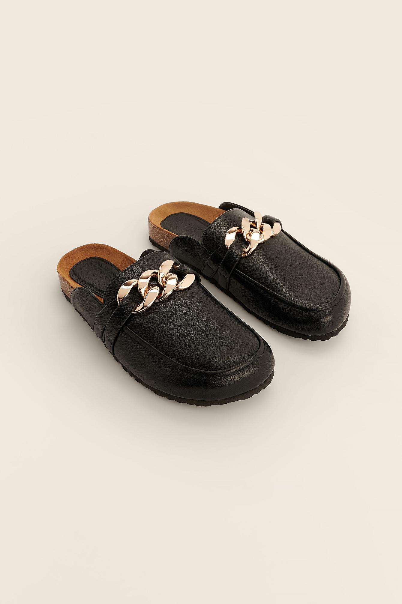 na-kd shoes -  Halbschuhe Mit Ketten-Details - Black