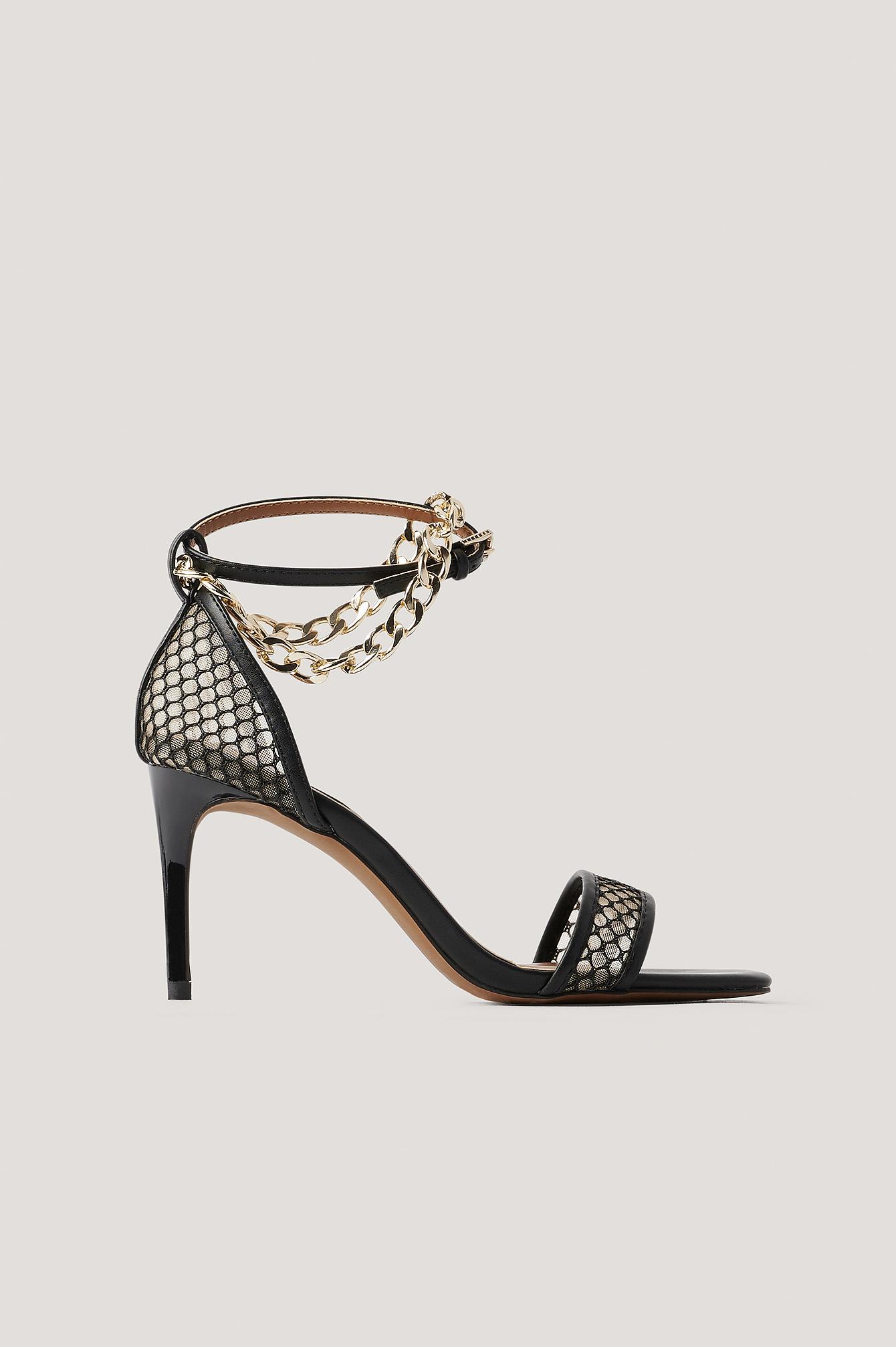 na-kd shoes -  Kette Detail Mesh Absatzschuhe - Black