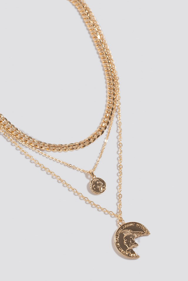 Chain Long Coin Pendant Necklace Gold