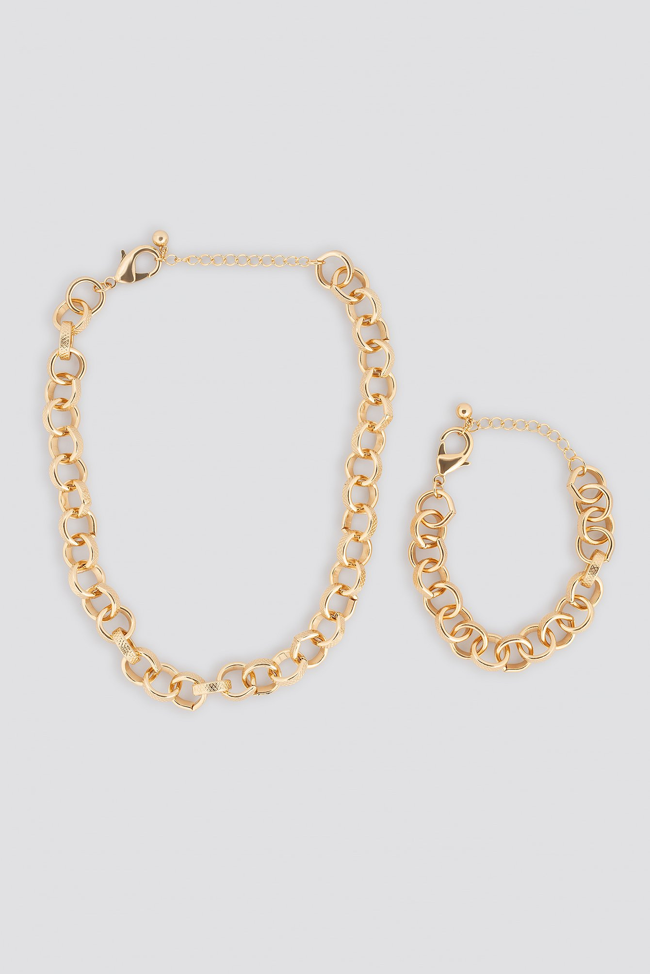 na-kd accessories -  Chain Necklace and Bracelet Set - Gold