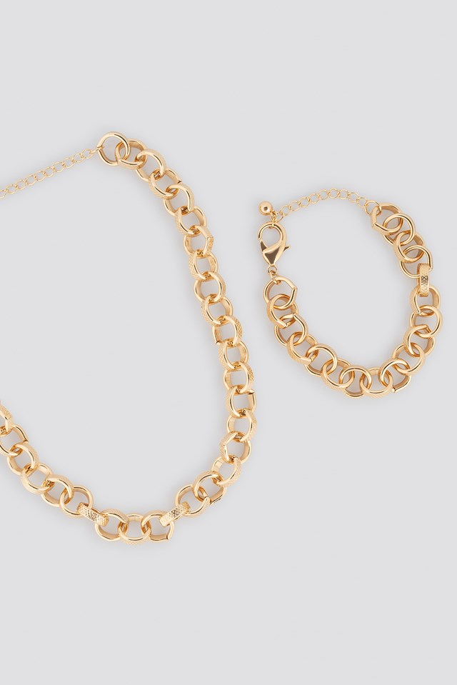 Chain Necklace and Bracelet Set Gold