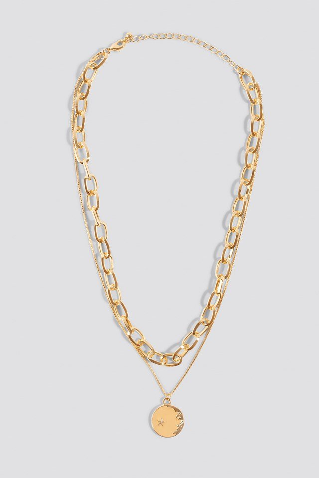 Chain Pendant Double Necklace NA-KD Accessories