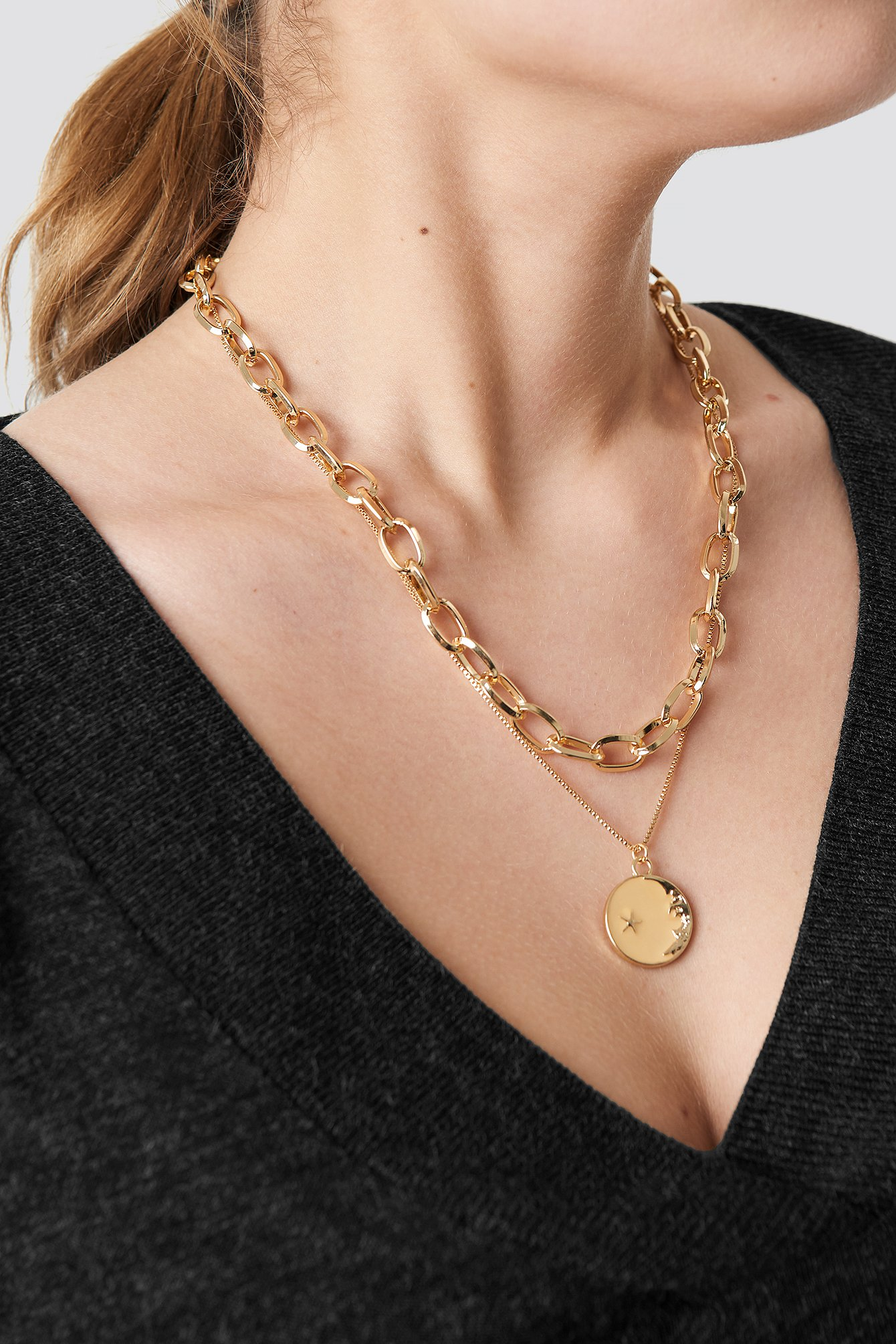 Chain Pendant Double Necklace NA-KD.COM