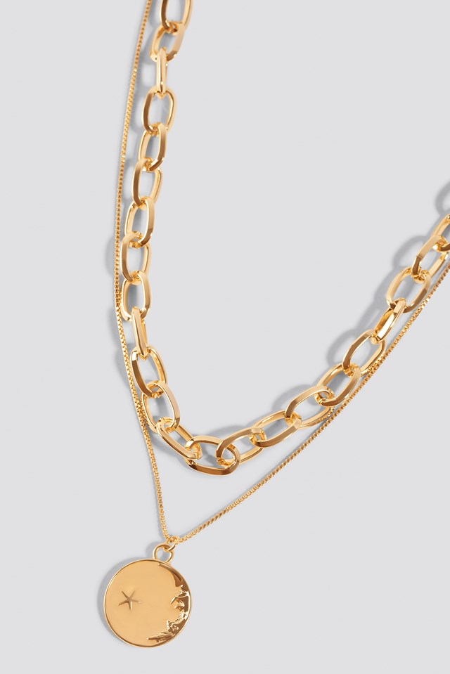 Chain Pendant Double Necklace Gold