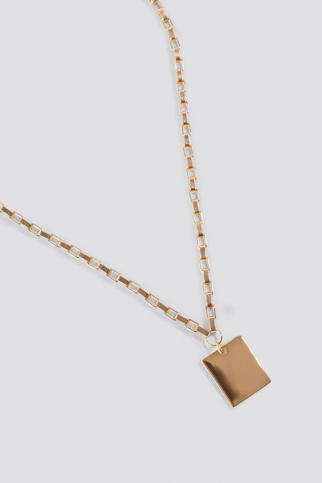 Chain Plate Necklace Gold