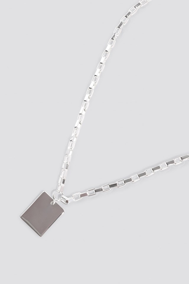 Chain Plate Necklace Silver