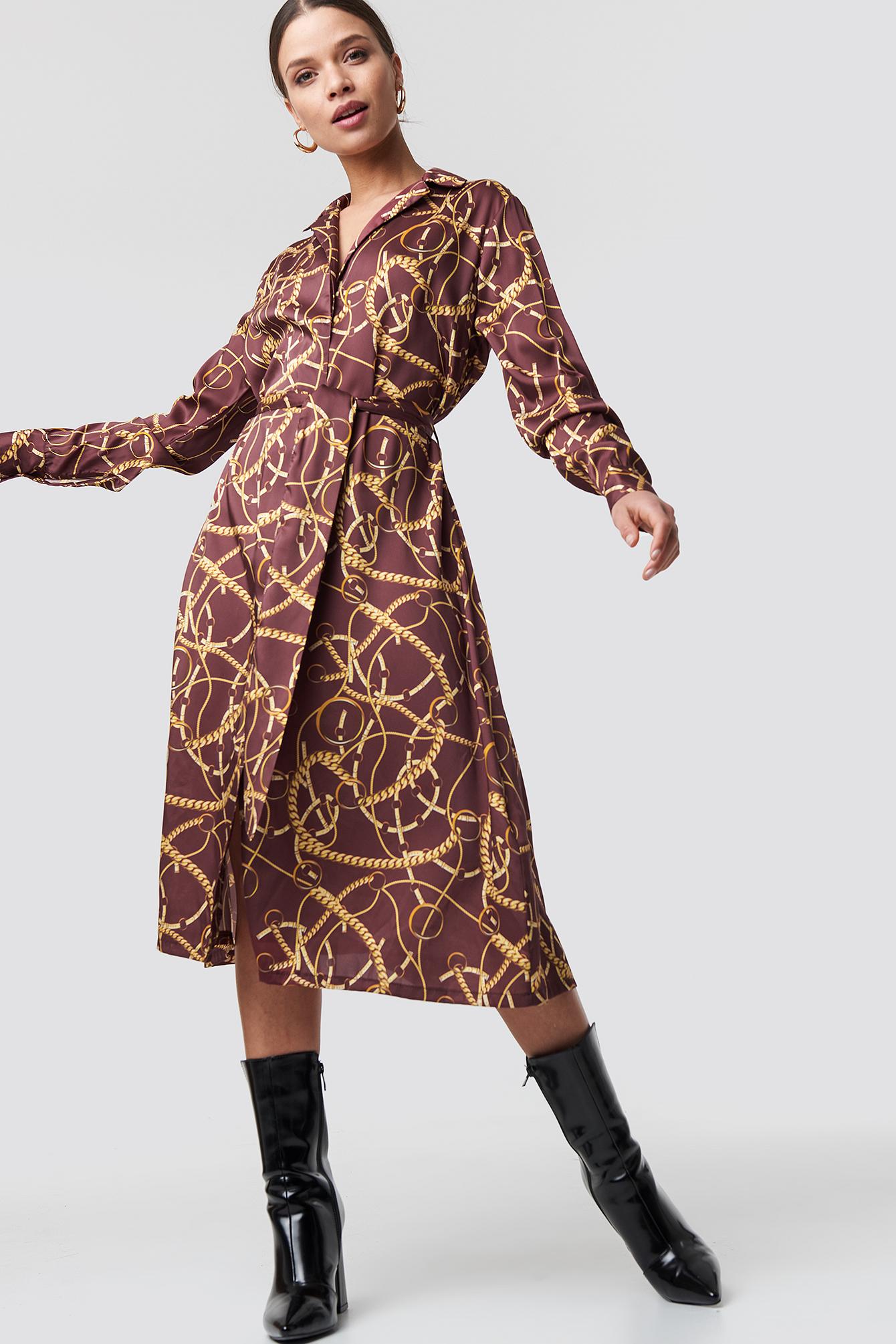 na-kd -  Chain Print Satin Midi Dress - Red