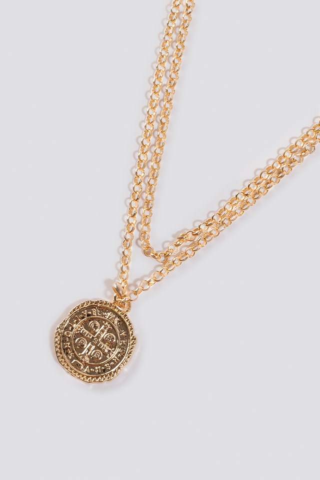 Chained Coin Pendant Necklace NA-KD.COM