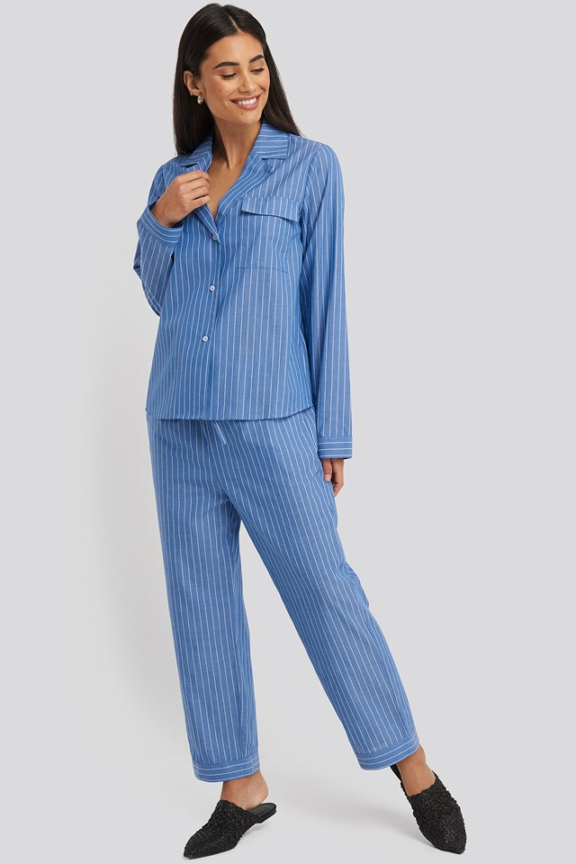Chambray Cotton Night Pants Blue/White Stripe