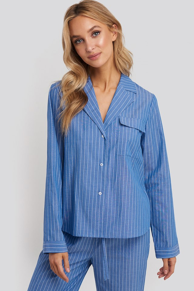 Chambray Cotton Night Shirt Blue/White Stripe