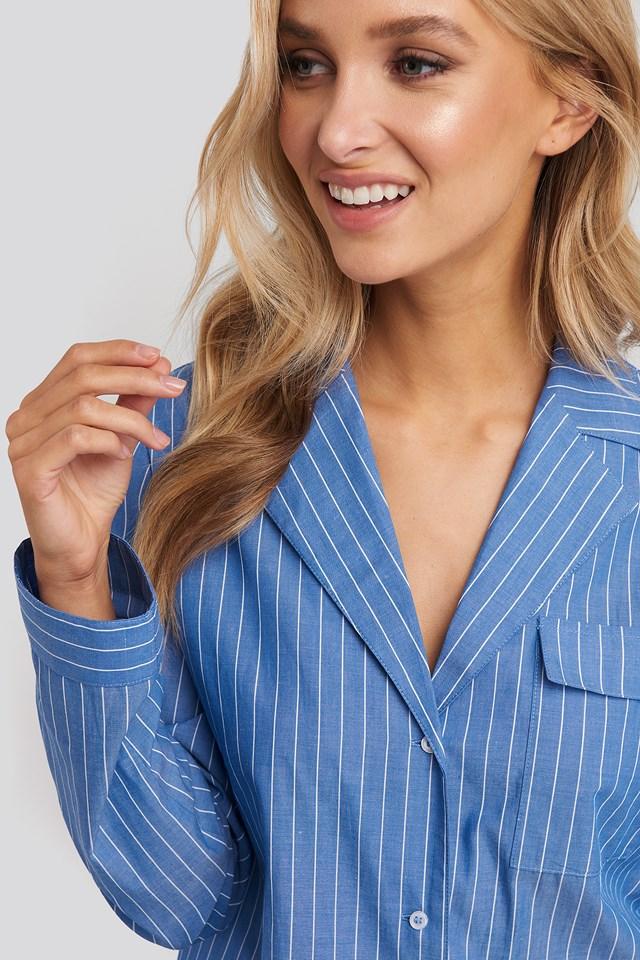 Chambray Cotton Night Shirt Blue/White Stripe