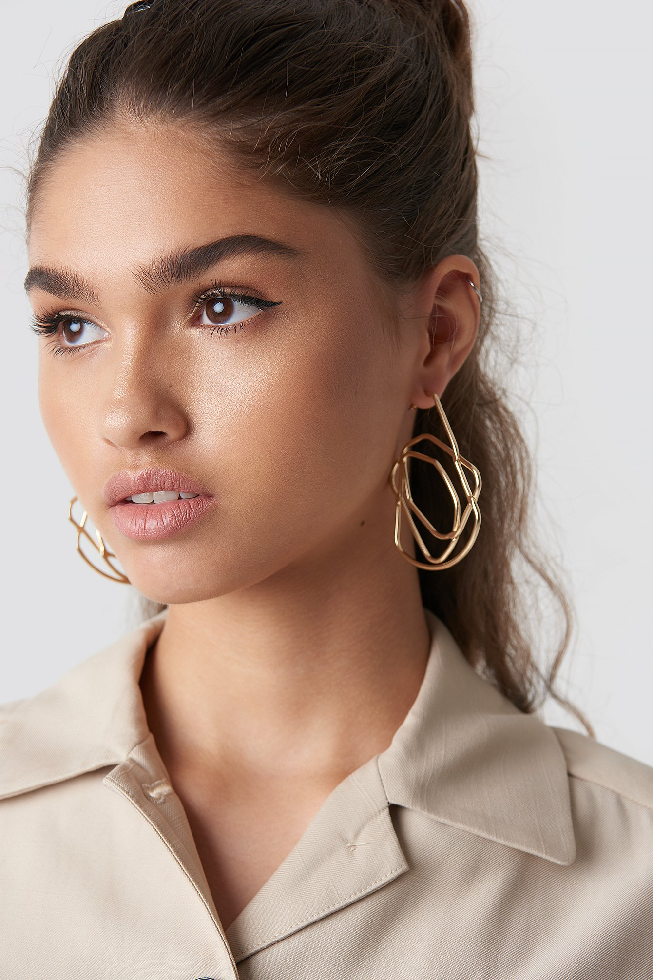 na-kd accessories -  Chaotic Lines Earrings - Gold