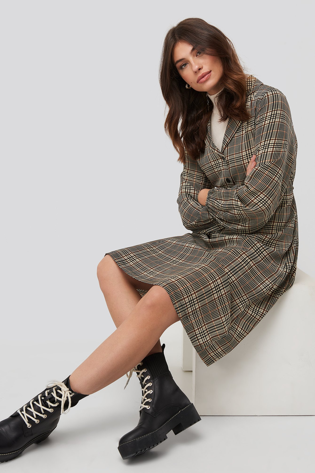 na-kd trend -  Checked Shirt Dress - Multicolor