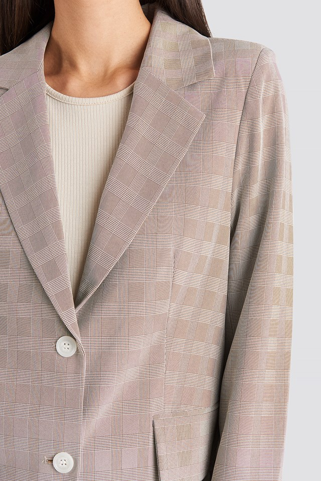 Check Straight Fitted Blazer Beige