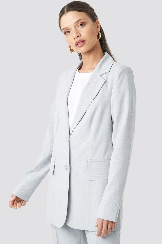 Check Straight Fitted Blazer Light Blue