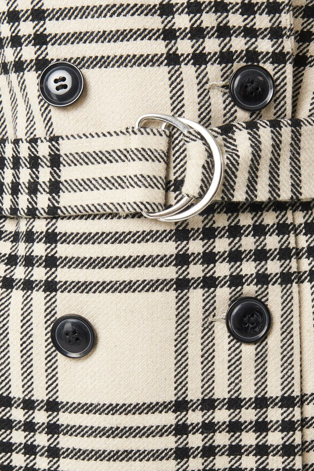 Checked Belted Coat Checked