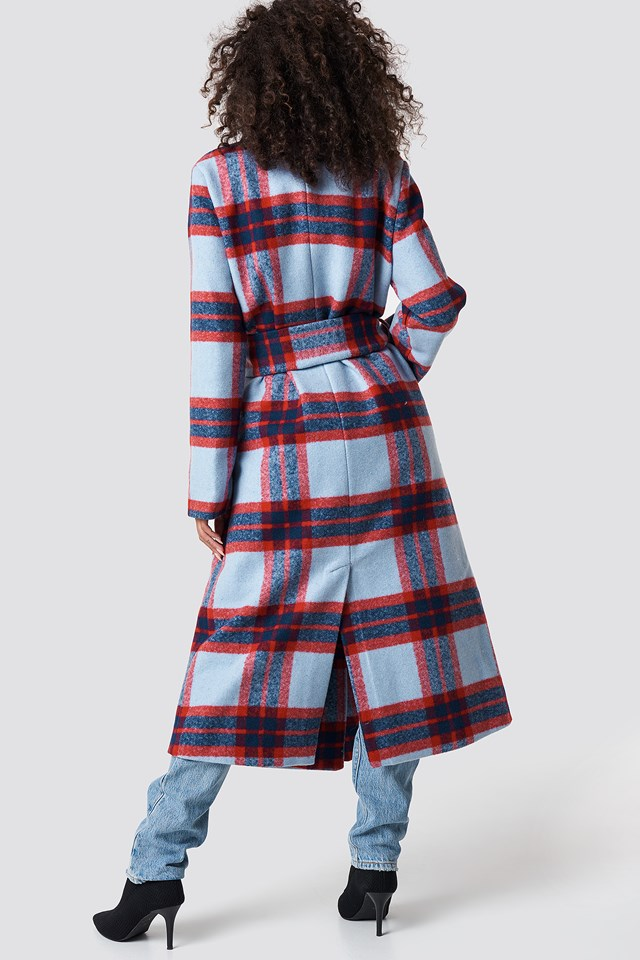 Checked Belted Coat Light Blue
