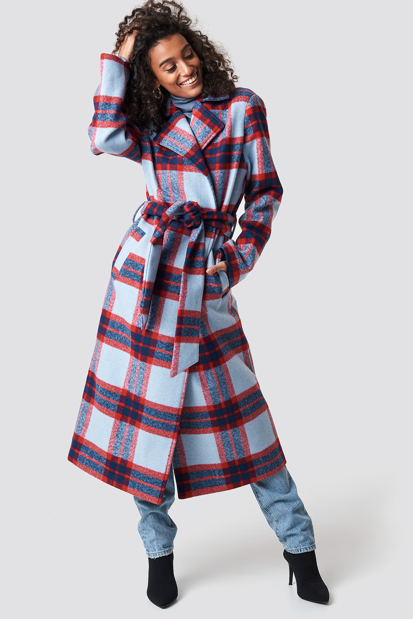 Checked Belted Coat NA-KD.COM