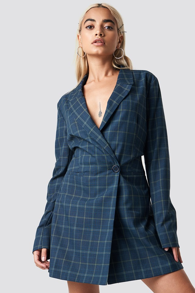 Checked Blazer Dress Blue Check