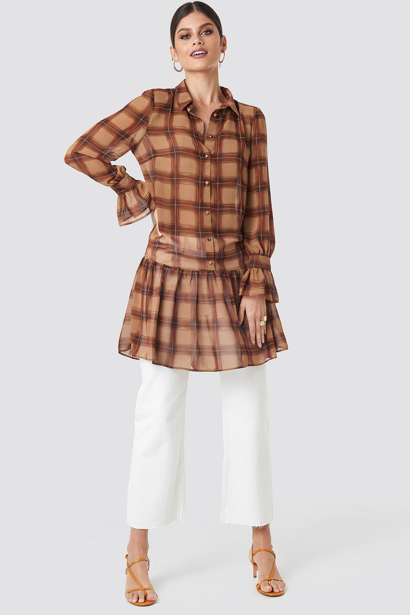 Checked Chiffon Shirt Dress NA-KD.COM