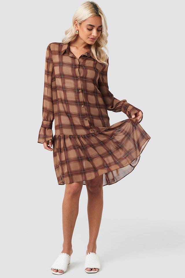 Checked Chiffon Shirt Dress Brown