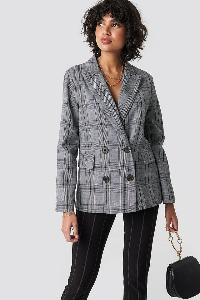 Checked Double Breasted Blazer NA-KD Classic