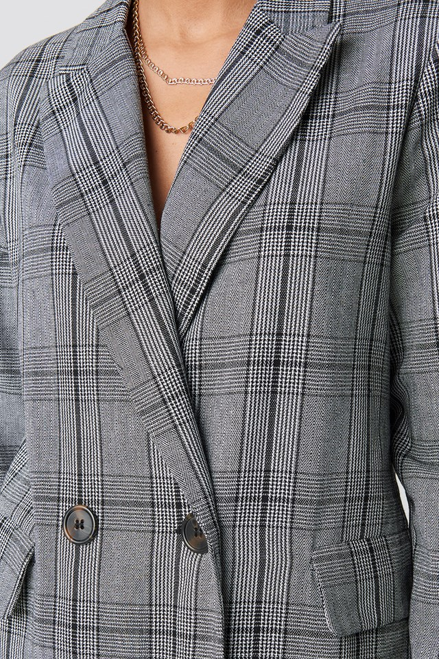 Checked Double Breasted Blazer Checkered
