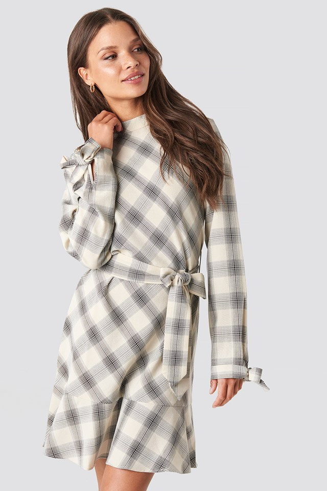 Checked Flounce High Neck Dress Checked