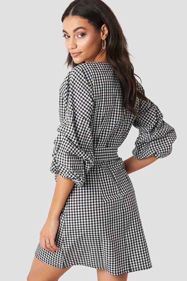 Checked Gathered Waist Puff Sleeve Dress Black/White Check
