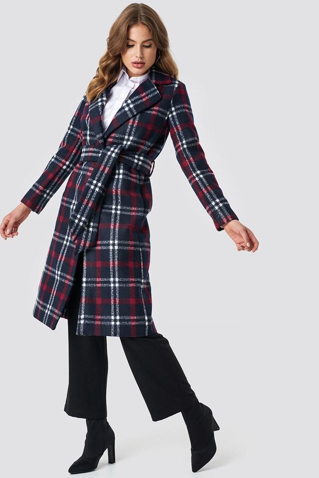 Checked Long Coat NA-KD.COM