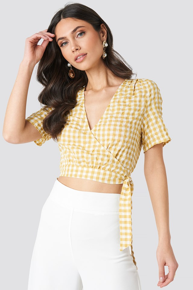 Checked Overlap Blouse Yellow